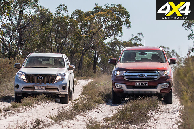 Ford everest v toyota prado side by side