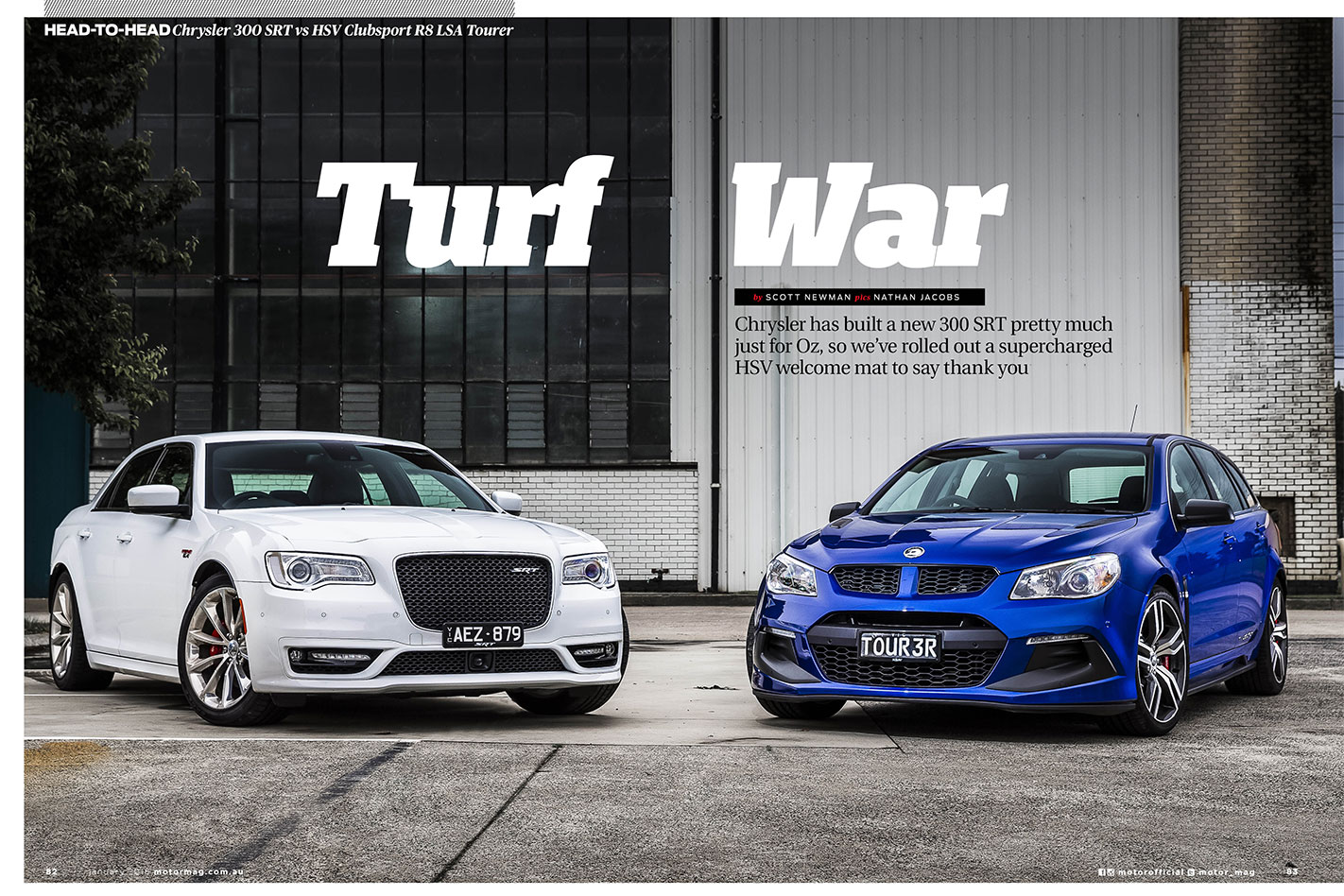 MOTOR-February -2016-Chrysler -300-SRT-vs -HSV-Clubsport -R8-LSA