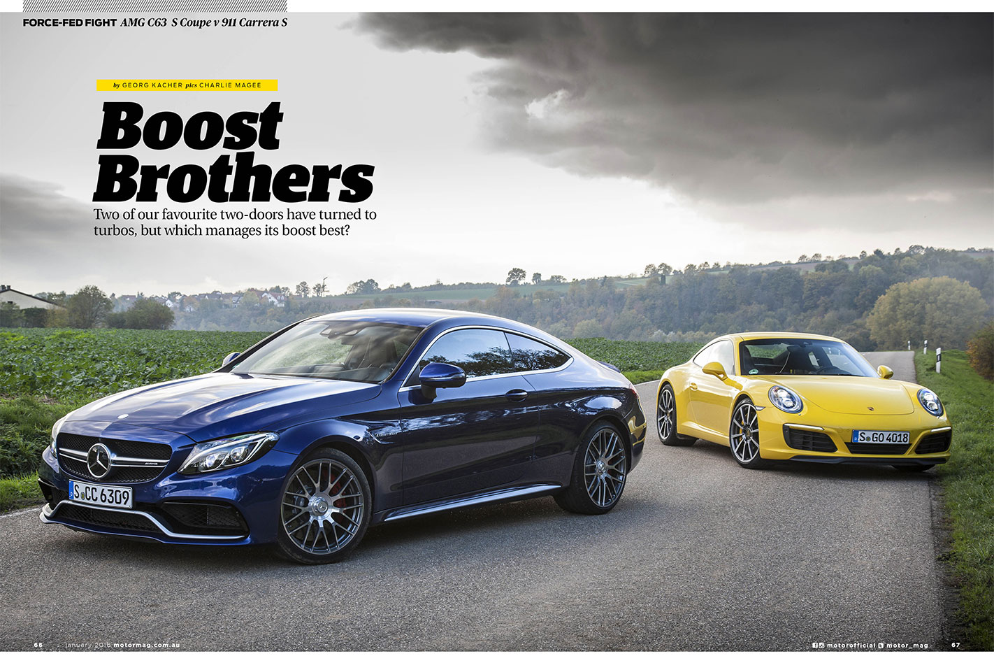 MOTOR-February -2016-Mercedes -AMG-C63-Coupe -vs -Porsche -911-Carrera