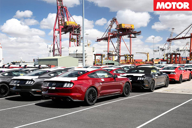 Ford mustangs arrive in aus parked