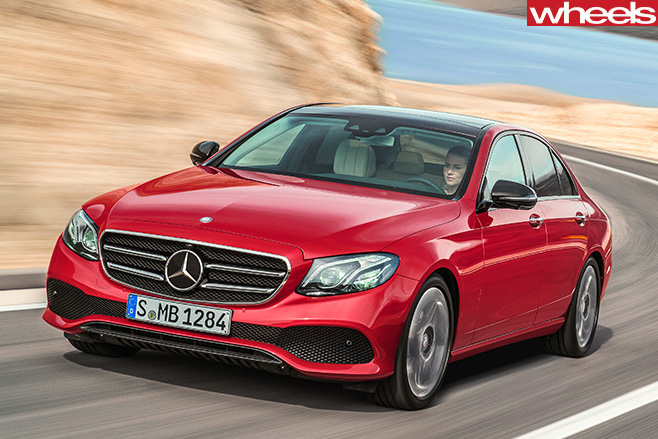 Mercedes -E-Class -Red -Front -driving