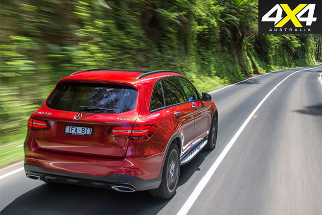 Mercedes Benz GLC rear driving straight