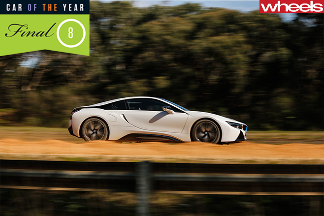 BMW-i 8--side -driving -on -dirt -road
