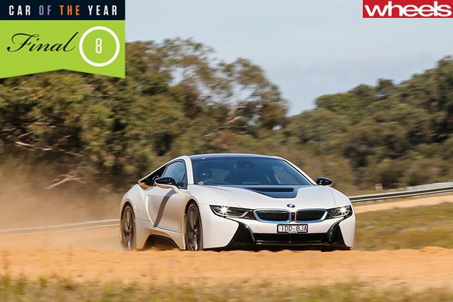 BMW-i 8--front -driving -on -dirt -road