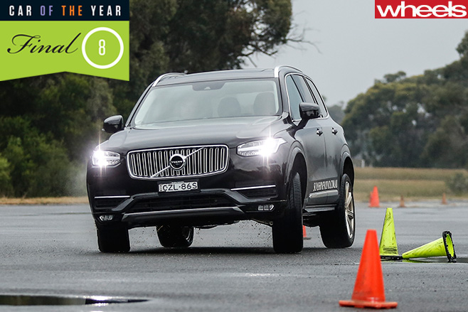 Volvo -XC90-driving -slalom -course