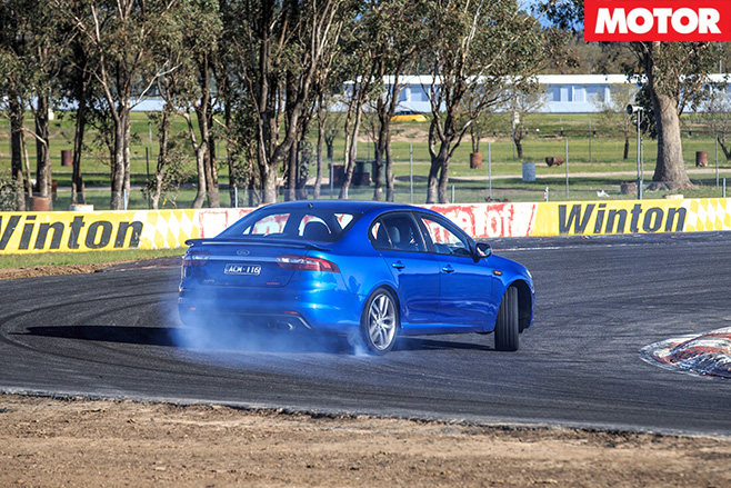 Ford Falcon sliding around turn