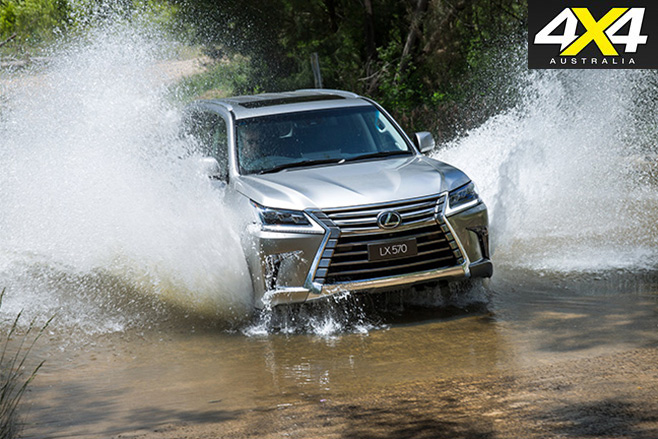 Lexus LX570 driving through water