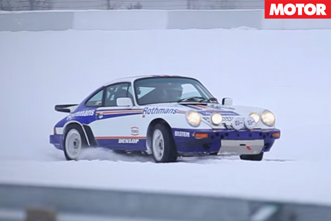 Porsche 911 drifting in snow
