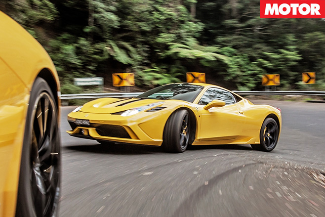 Ferrari 458 speciale driving turning
