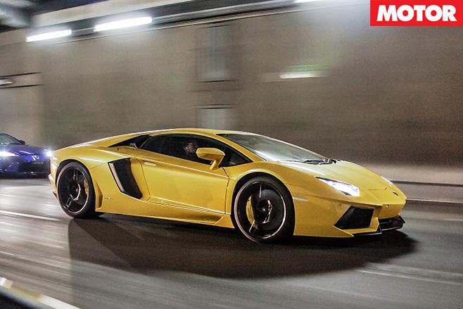 Lamborghini Aventador driving fast