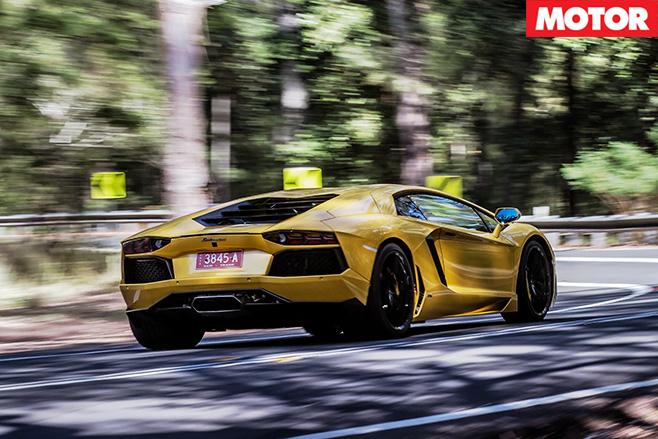 Lamborghini Aventador driving rear