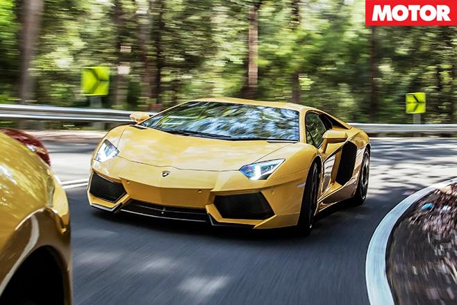 Lamborghini Aventador driving