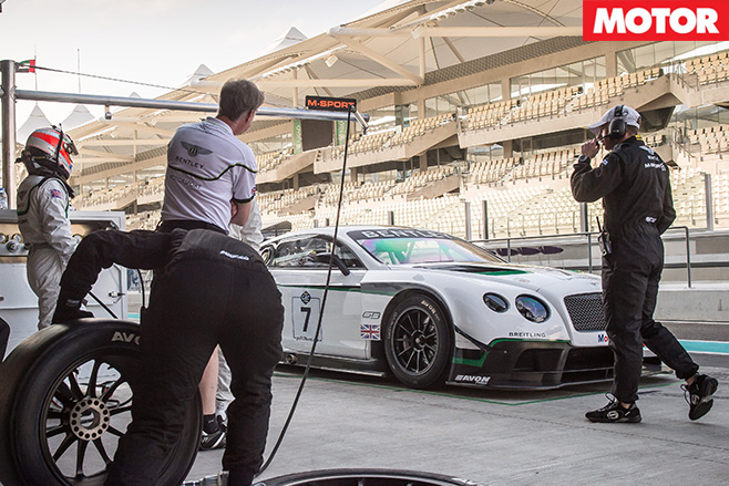 Bentley GT3 in pits