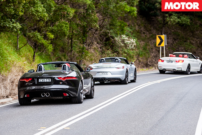 BMW M4 Convertible vs Jaguar F-Type V6 S vs Porsche Boxster GTS rear