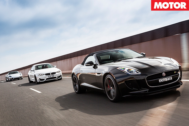 BMW M4 Convertible vs Jaguar F-Type V6-S vs Porsche Boxster GTS driving