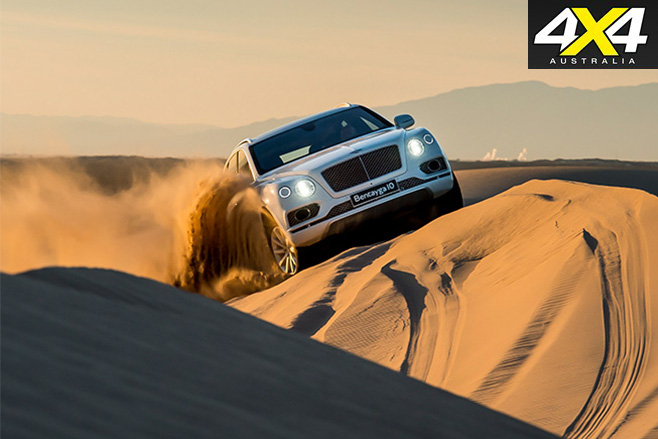 Bentley Bentayga climbing sand driving