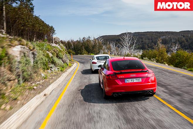 Porsche Cayman vs Audi TT S driving