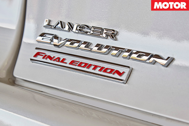 Mitsubishi Evo Final Edition badge