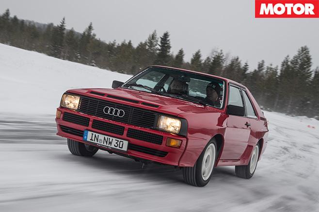 Audi s1 quattro driving in the snow