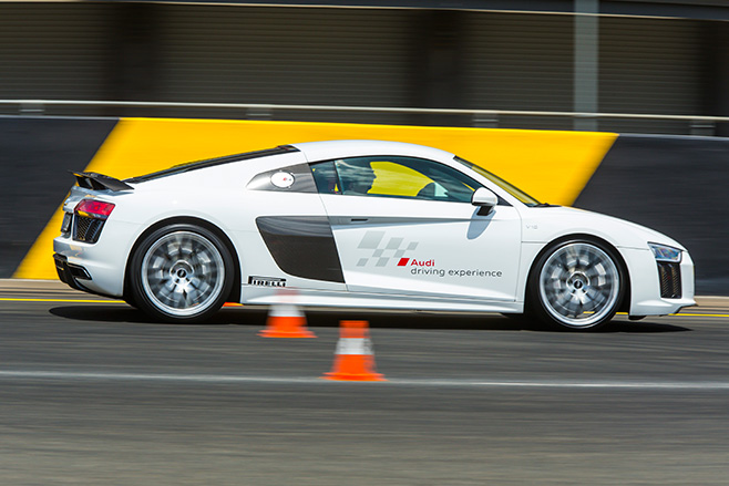 Audi -R8-driving -side --cones