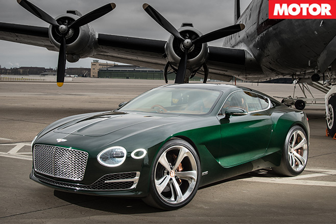 Bentley EXP10 parked under plane