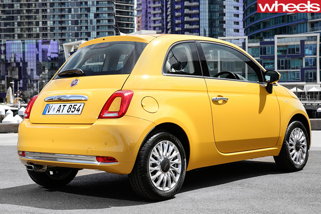 Yellow -Fiat -500-rear -side