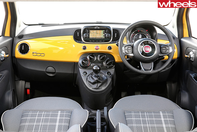 Yellow -Fiat -500-interior