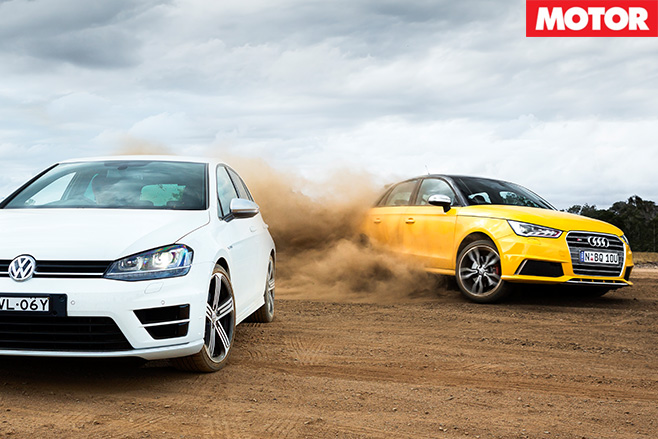 Audi S1 vs VW Golf-R driving