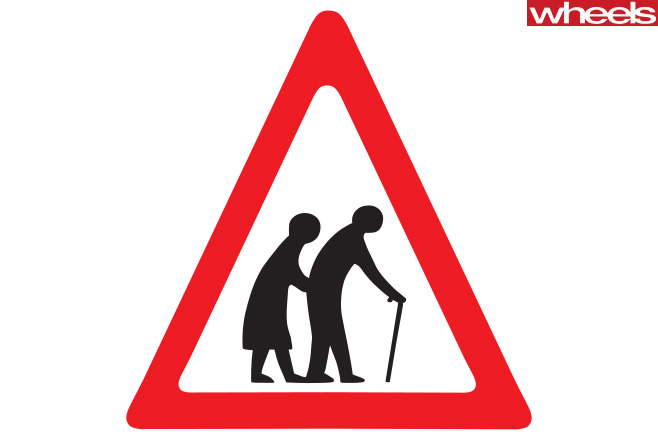 Elderly -people -walking -sign