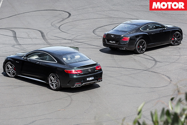 Bentley Continental V8 S vs Mercedes AMG S63 rear still