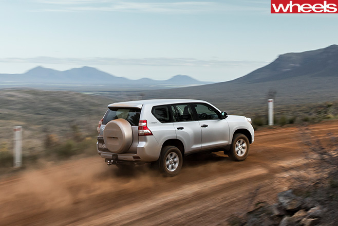 Toyota -Prado -driving -on -dirt -rear -side