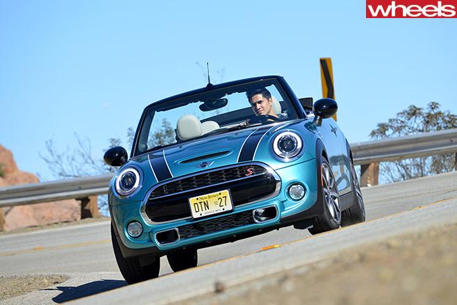 Mini -Cooper -S-Convertible -Caribbean -Aqua -driving -front -corner