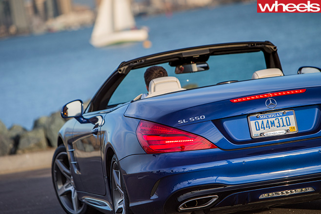 Mercedes -SL500-driving -rear