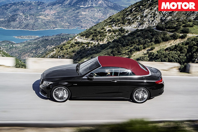 Mercedes-AMG C43 Cabriolet driving with top up