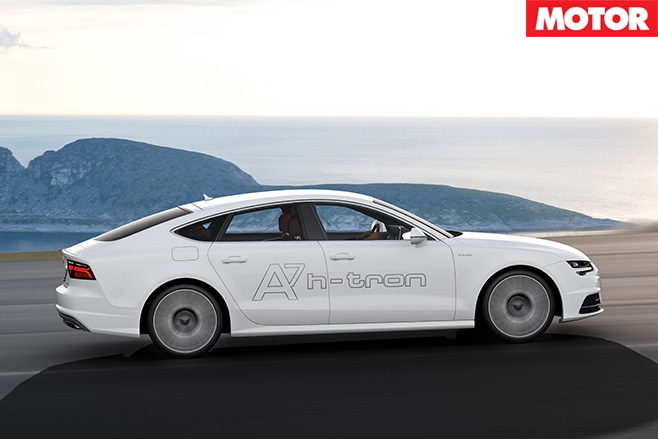 Audi A7 h-tron side driving