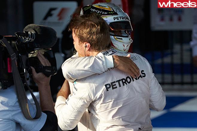 Nico -Rosberg -Hugging -Lewis -Hamilton