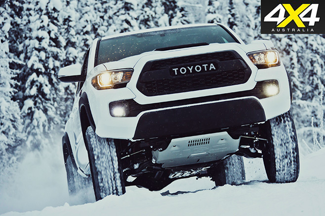 TRD Pro tacoma driving uphill