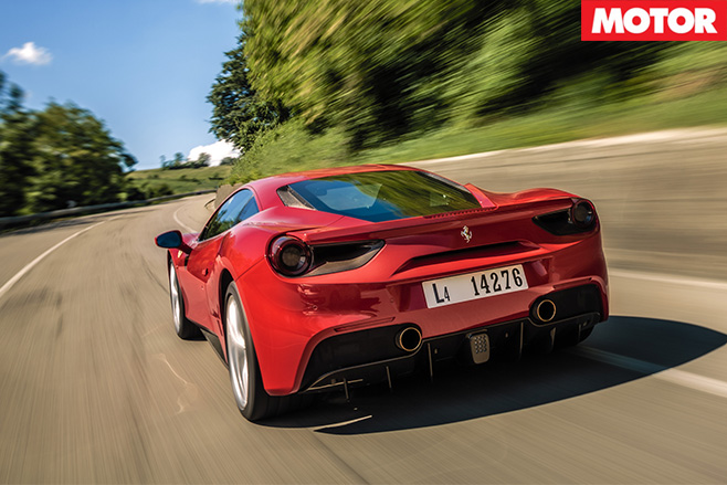 Ferrari 488 GTB rear driving