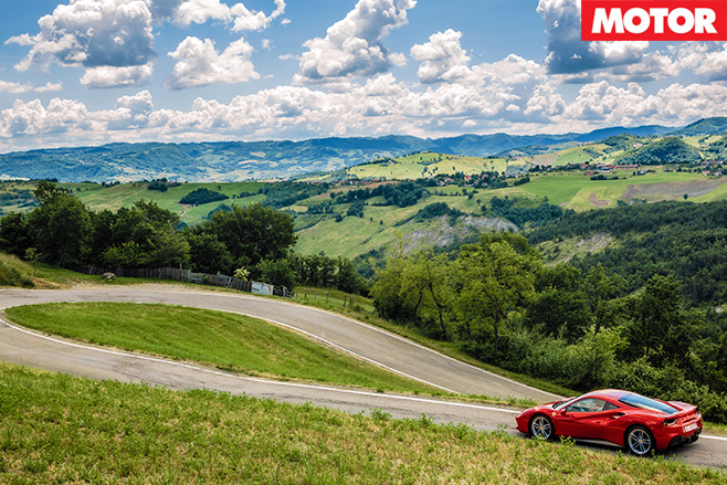 Ferrari and italian landscape