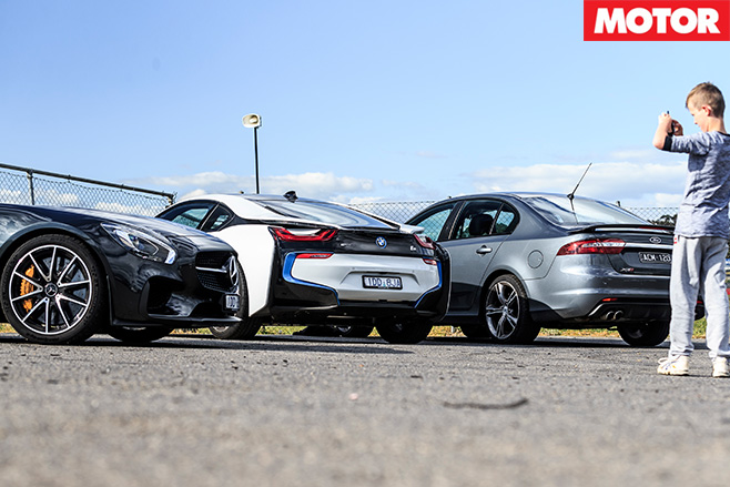 Bmw i8 and ford falcon and mercedes-amg gt