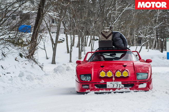Ferrari F40 front driving on snow
