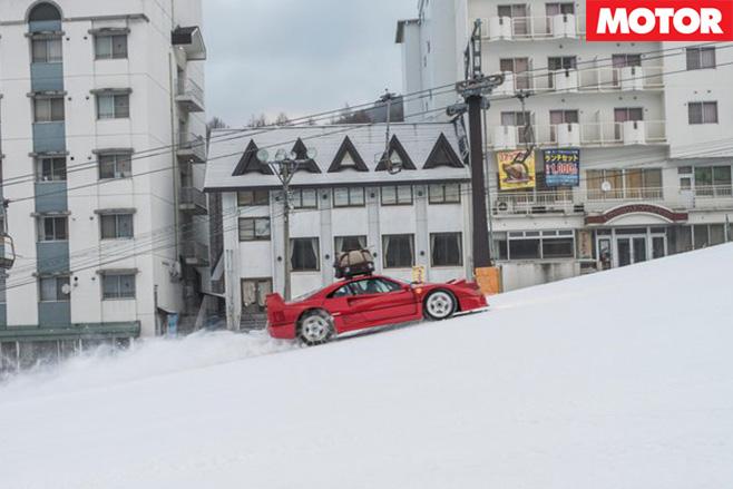 Ferrari F40 driving uphill