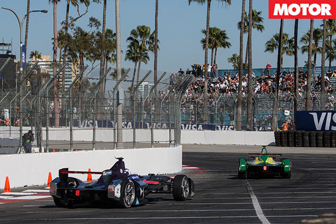 Formula E cars turning