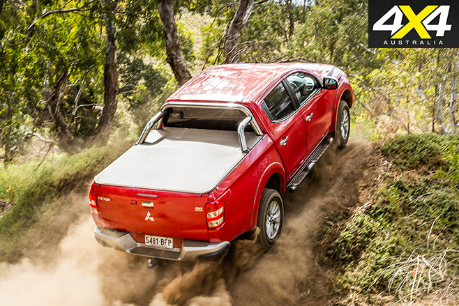 Mitsubishi triton driving uphill