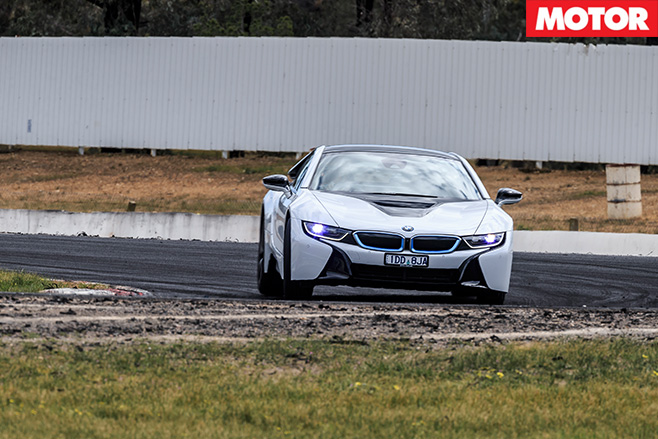 BMW i8 driving turning