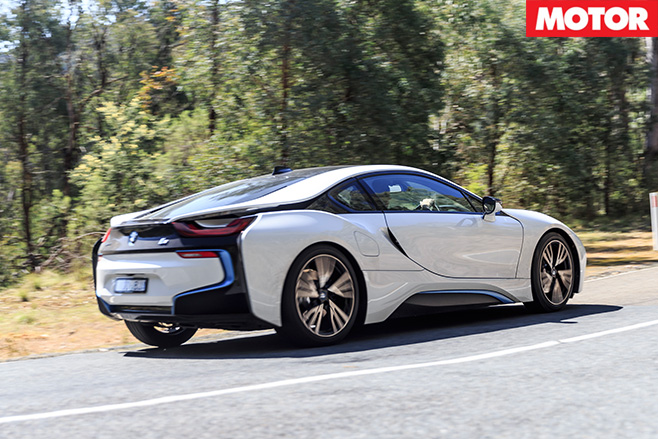 BMW i8 driving rear