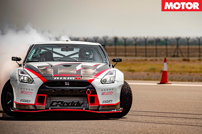 Nissan GT-R drifting fast front