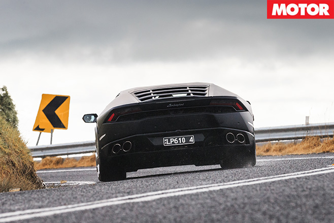 Huracan rear driving fast