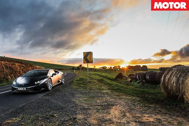 Lamborghini Huracan front sunset