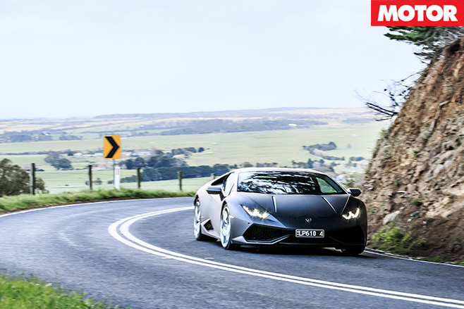 Lamborghini Huracan driving around corner